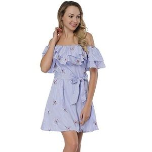 Dragonflies Gingham Convertible Belted Mini Dress